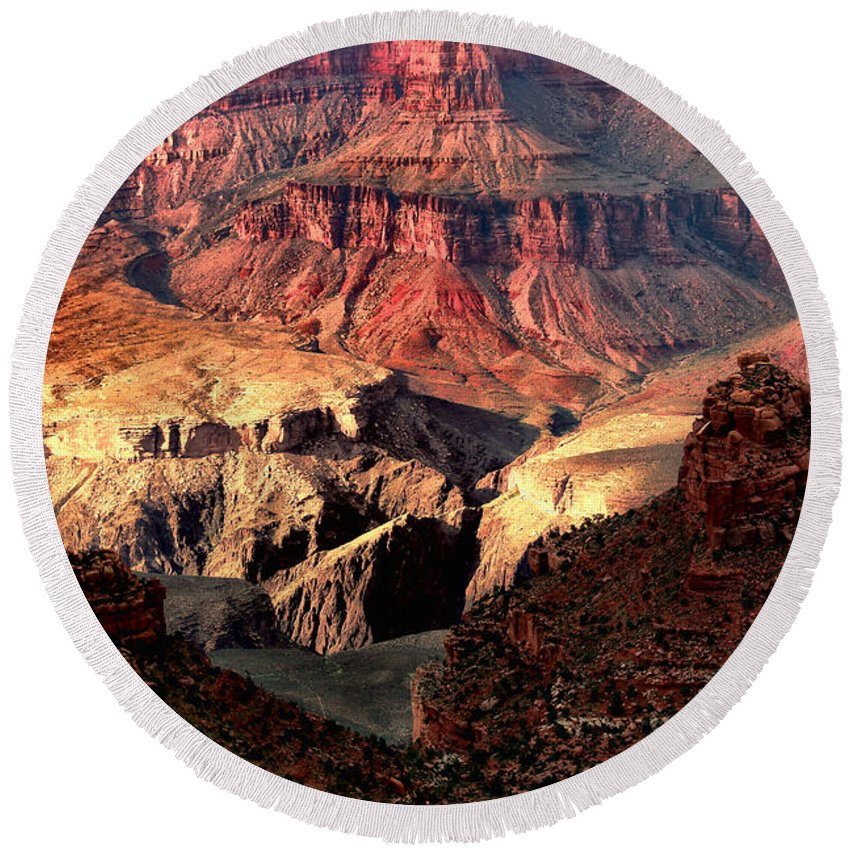 Arizona.the Grand Canyon Round Beach Towel featuring the photograph The Grand Canyon I by Tom Prendergast
