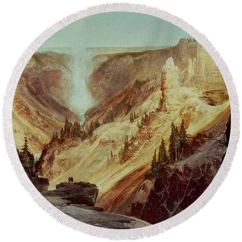 The Grand Canyon Of The Yellowstone Round Beach Towel featuring the painting The Grand Canyon Of The Yellowstone by Thomas Moran