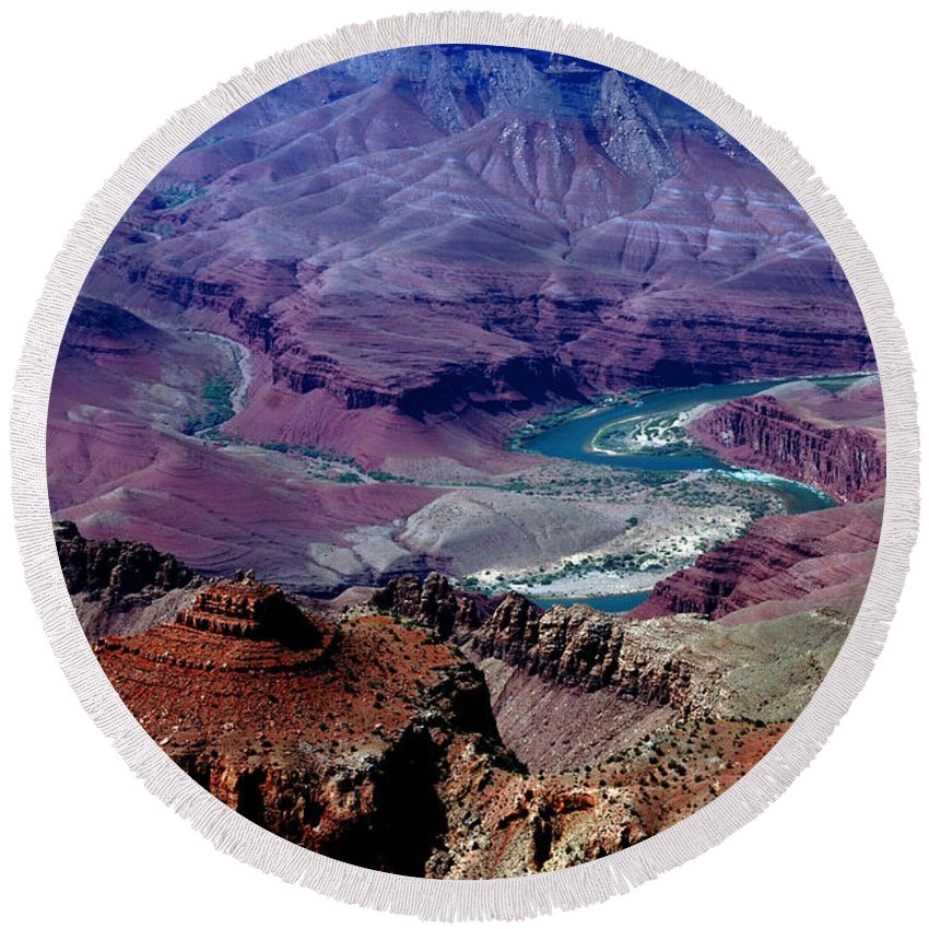 Photography Round Beach Towel featuring the photograph The Grand Canyon by Susanne Van Hulst