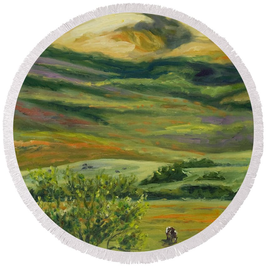 California Hills Round Beach Towel featuring the painting The Grapevine by Rick Nederlof
