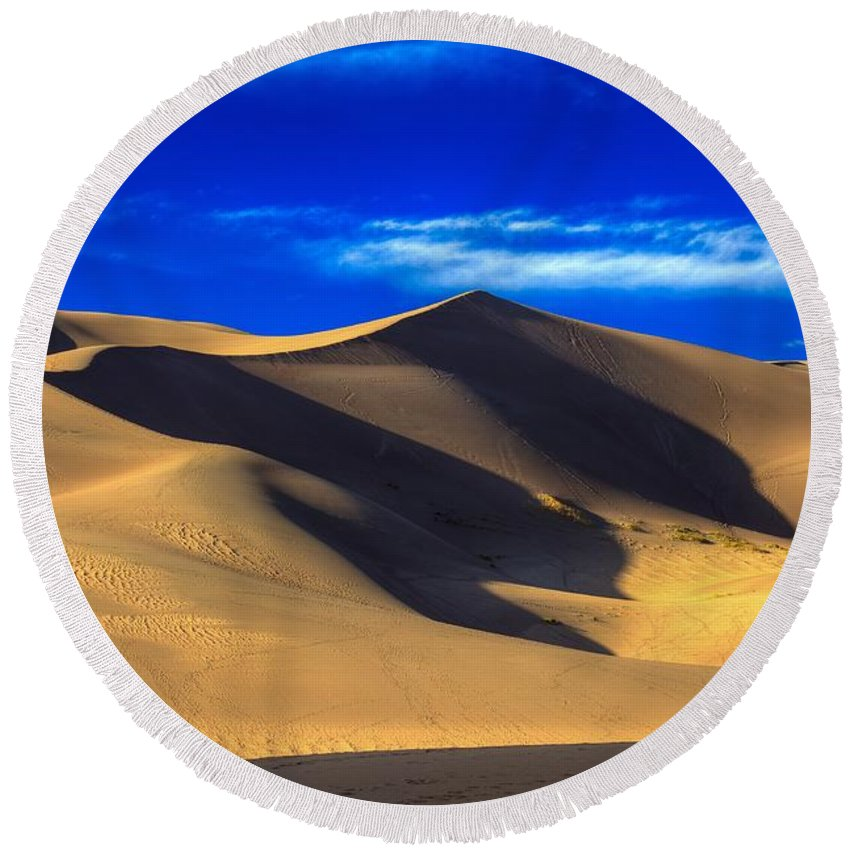 Landscape Round Beach Towel featuring the photograph The Great Dunes National Park by Bill Sherrell