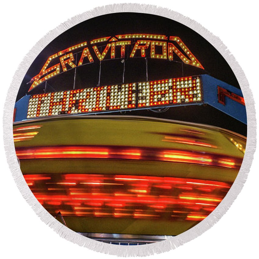 Vallejo Round Beach Towel featuring the photograph The Gravitron by Kristofer M Johnson