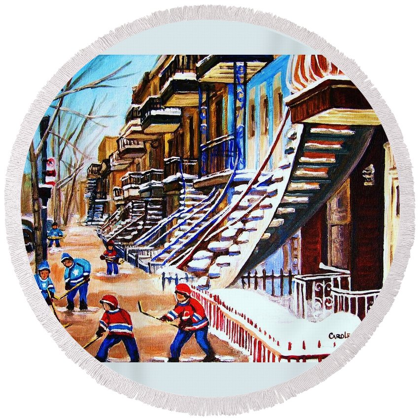 Hockey Round Beach Towel featuring the painting The Gray Staircase by Carole Spandau
