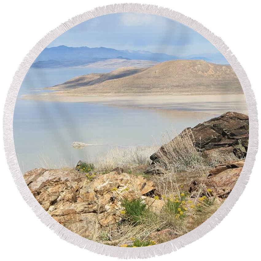 Nature Round Beach Towel featuring the photograph The Great Salt Lake 3 by Tonya Hance