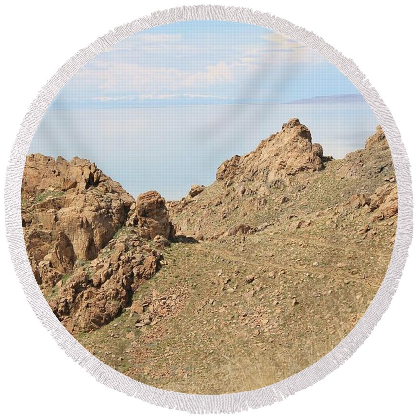 Nature Round Beach Towel featuring the photograph The Great Salt Lake 8 by Tonya Hance