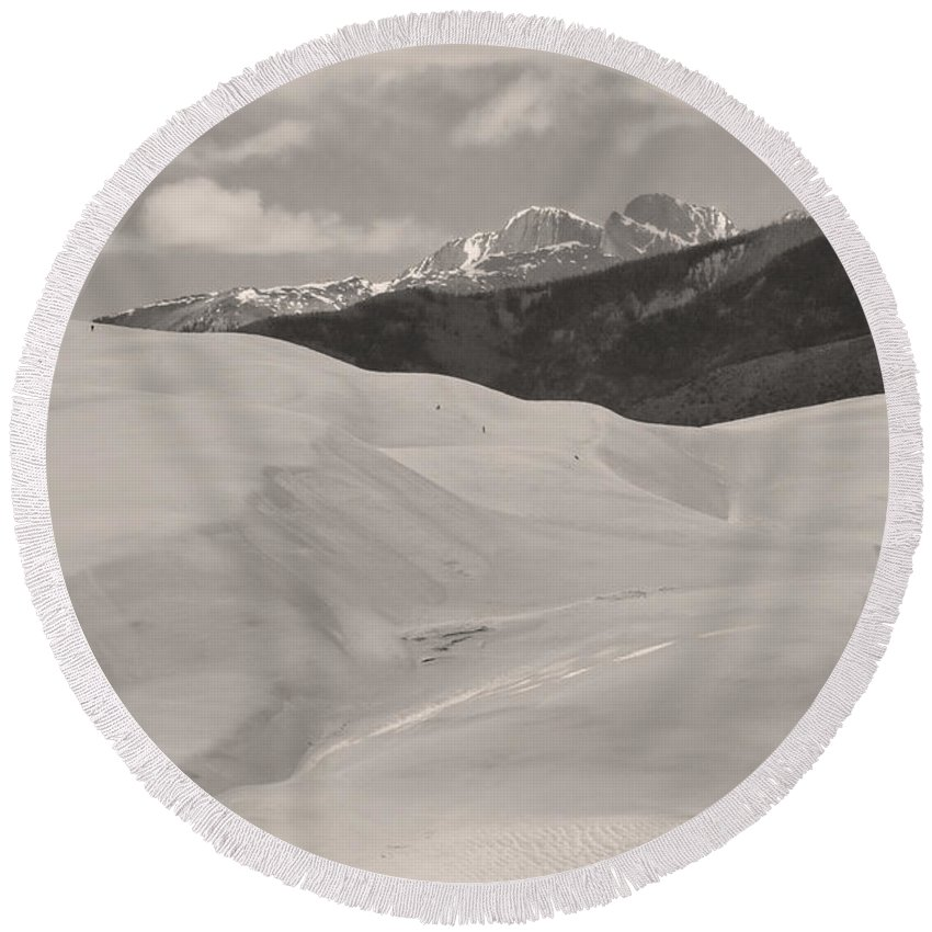 the Great Colorado Sand Dunes Round Beach Towel featuring the photograph The Great Sand Dunes Bw Sepia by James BO Insogna