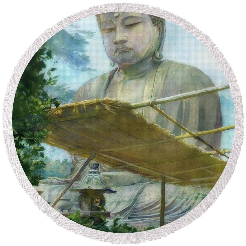 Painting Round Beach Towel featuring the painting The Great Statue Of Amida Buddha At Kamakura by John La Farge