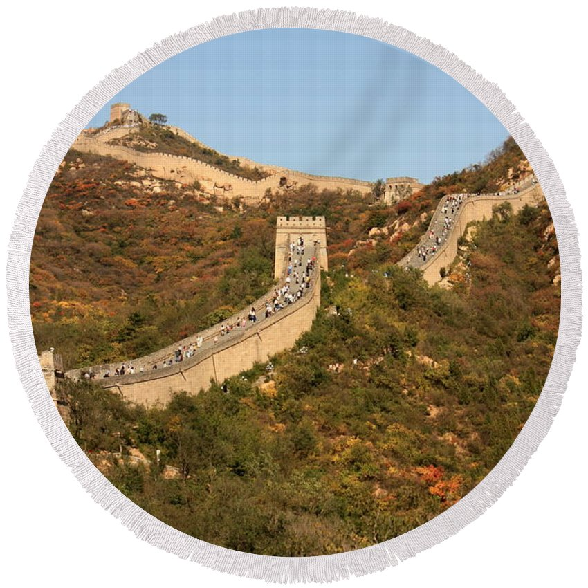 The Great Wall Of China Round Beach Towel featuring the photograph The Great Wall On Beautiful Autumn Day by Carol Groenen
