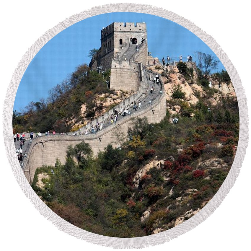 The Great Wall Of China Round Beach Towel featuring the photograph The Great Wall Mountaintop by Carol Groenen
