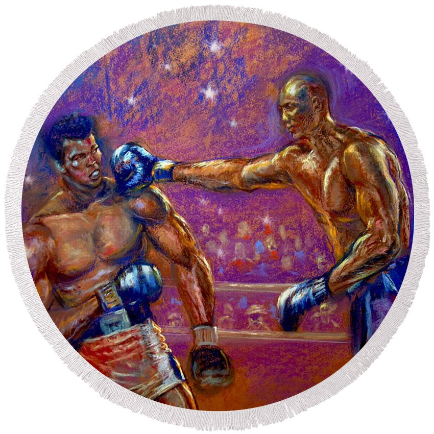 Boxing Round Beach Towel featuring the pastel the Greatest Muhammed Ali vs Jack Johnson by Tommy Winn