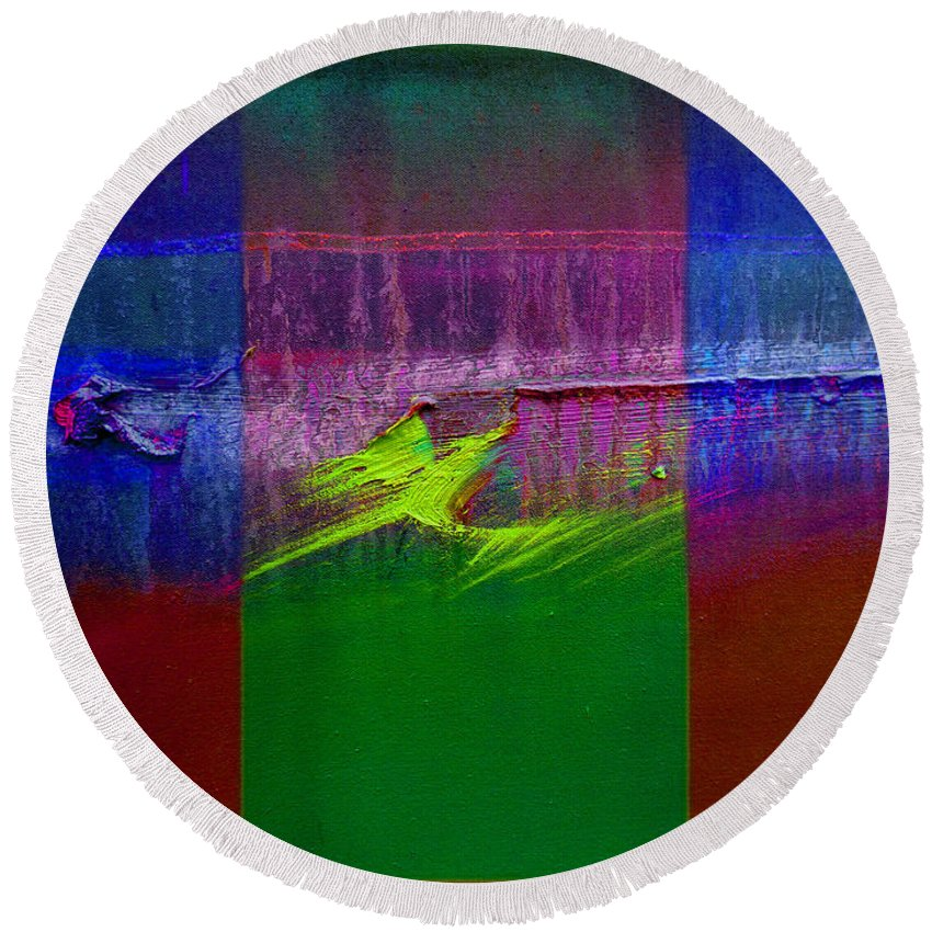 Landscape Round Beach Towel featuring the painting The Green Dragon by Charles Stuart