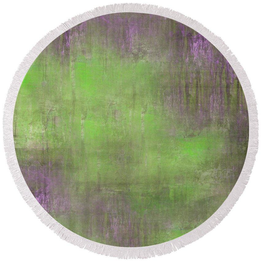 Digital Graphic Round Beach Towel featuring the digital art The Green Fog by Mihaela Stancu