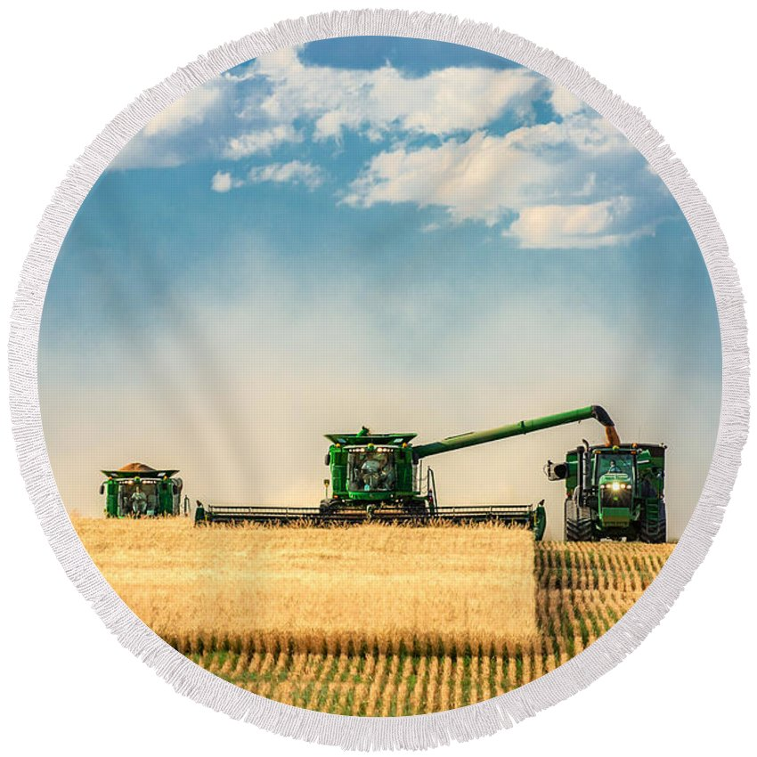 Ombine Round Beach Towel featuring the photograph The Green Machines by Todd Klassy