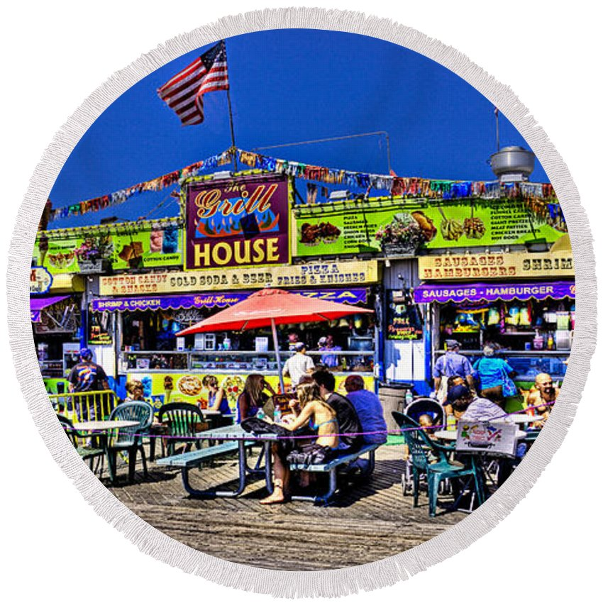 Hdr Round Beach Towel featuring the photograph The Grill House by Chris Lord