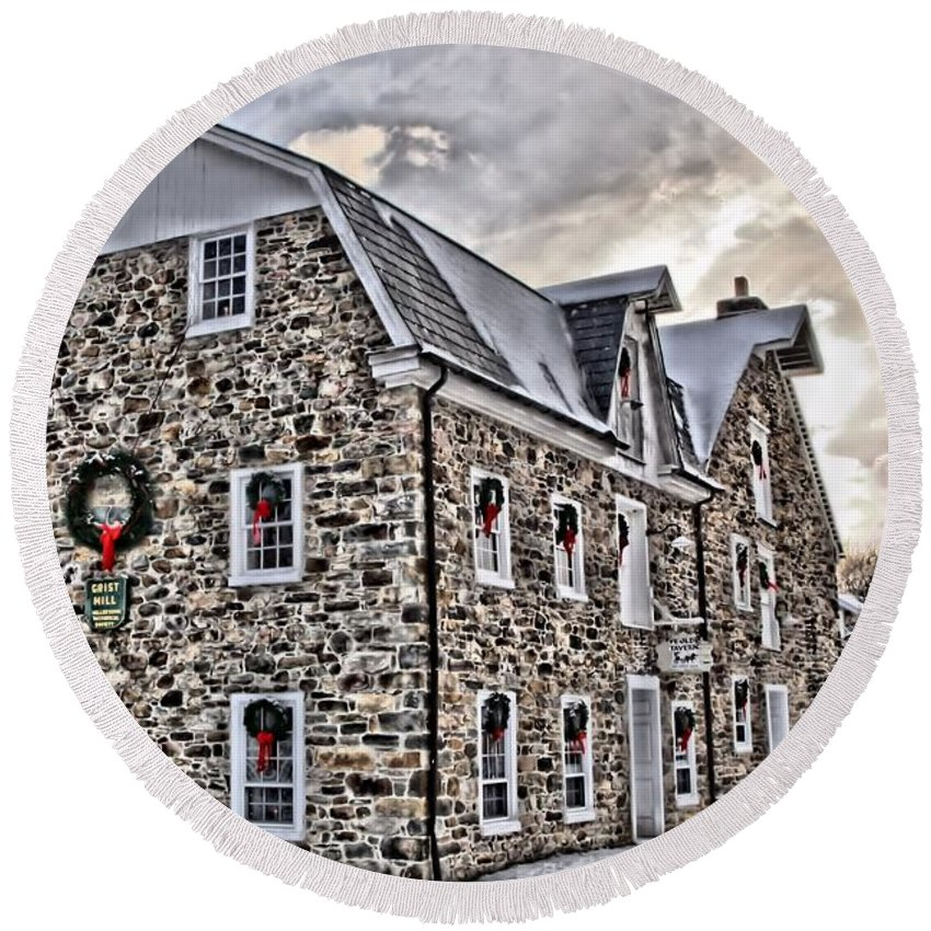 Hellertown Round Beach Towel featuring the photograph The Grist Mill And Ye Old Tavern by DJ Florek