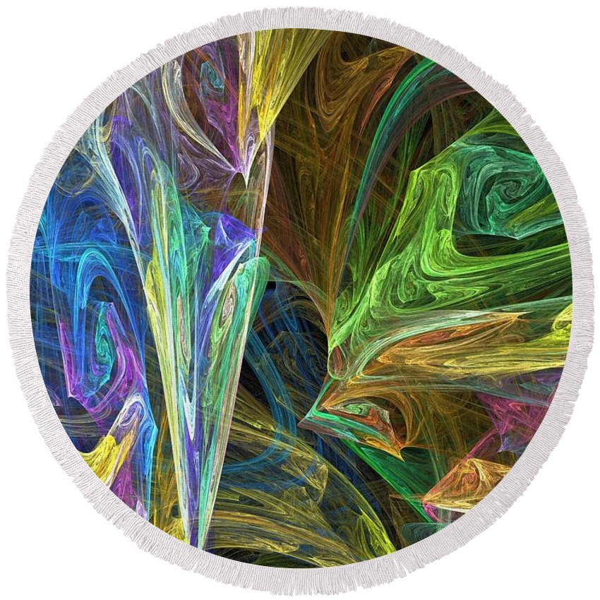 Fractals Round Beach Towel featuring the digital art The Groove by Richard Rizzo