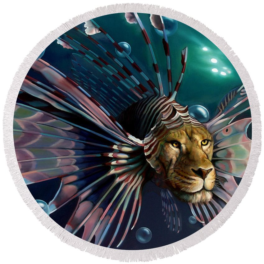 Lion Round Beach Towel featuring the painting The Guardian by Patrick Anthony Pierson