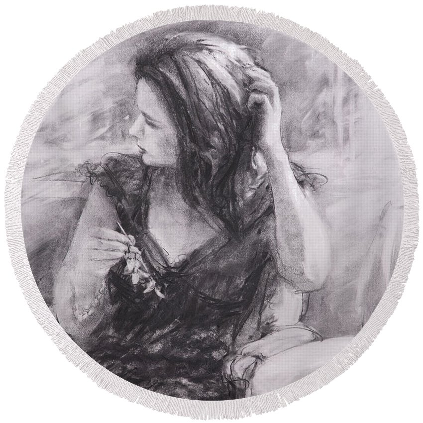 Woman Round Beach Towel featuring the painting The Hairpin by Steve Henderson
