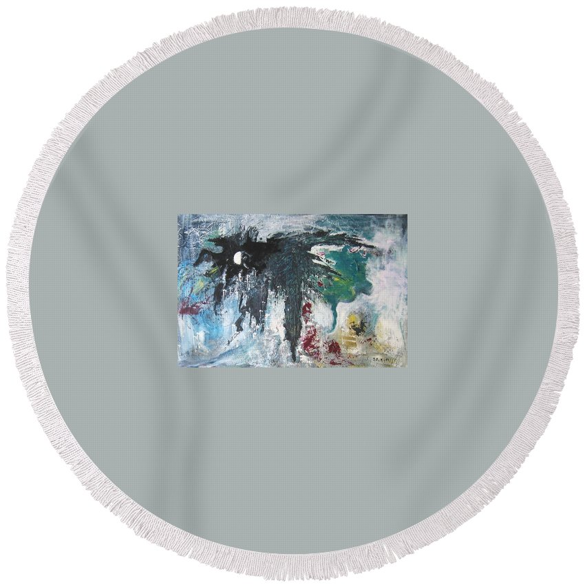 Abstract Paintings Round Beach Towel featuring the painting The Half Moon by Seon-Jeong Kim