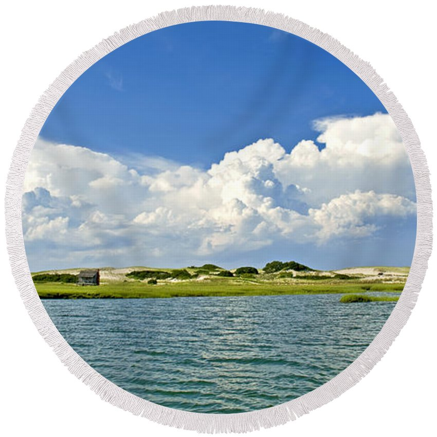 Sandy Neck Round Beach Towel featuring the photograph The Handys Camp On Sandy Neck by Charles Harden