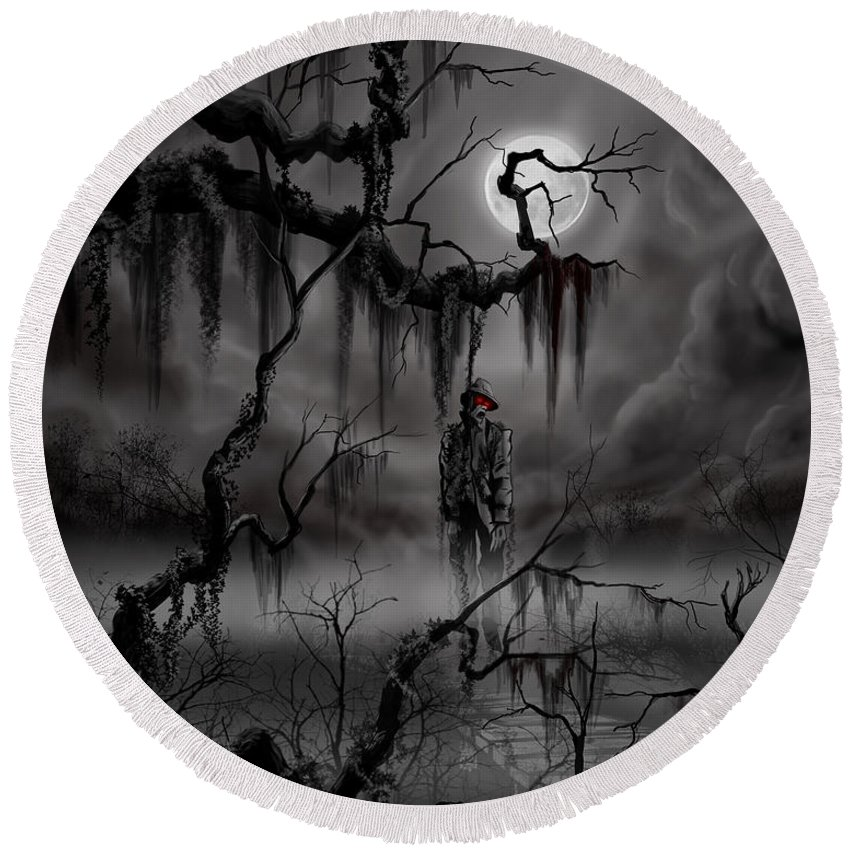 Nightmare Round Beach Towel featuring the painting The Hangman by James Christopher Hill