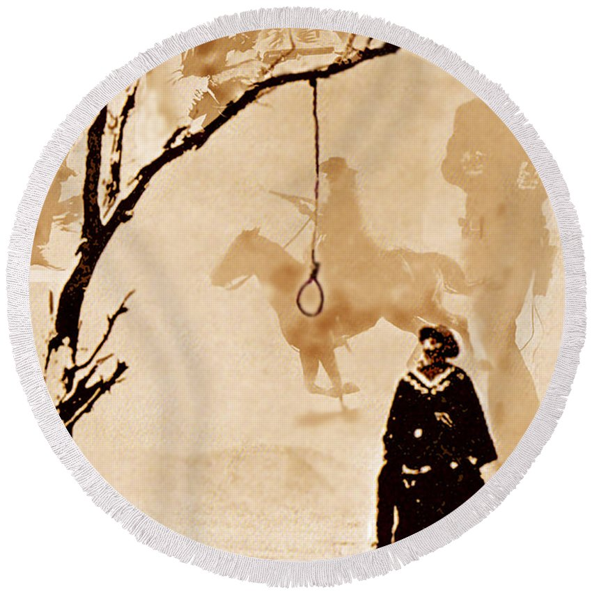 Clint Eastwood Round Beach Towel featuring the digital art The Hangman's Tree by Seth Weaver