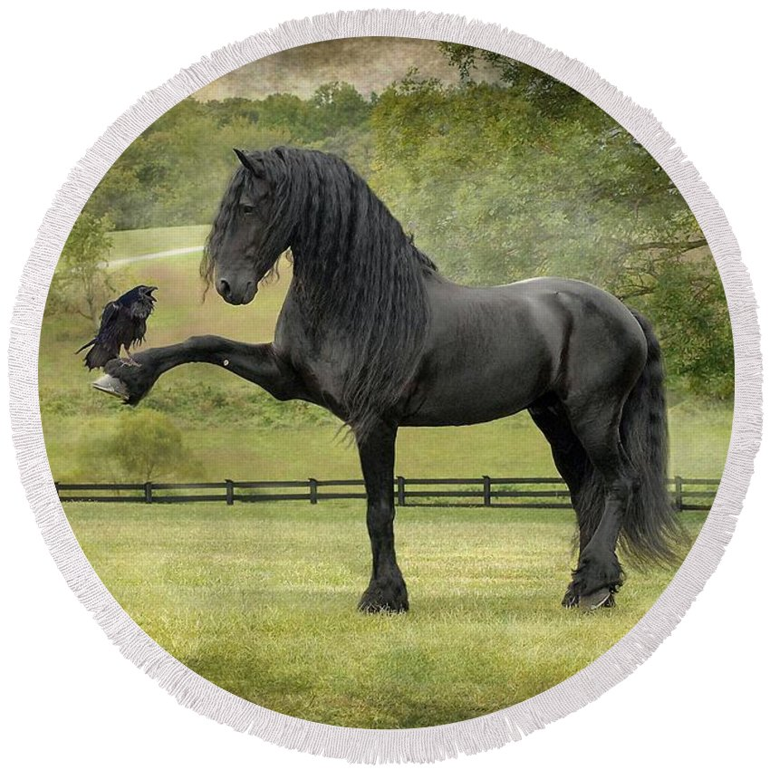 Friesian Horses Round Beach Towel featuring the photograph The Harbinger by Fran J Scott
