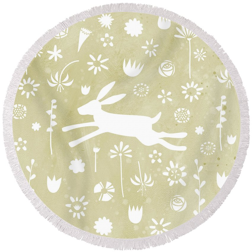 Hare Round Beach Towel featuring the painting The Hare In The Meadow by Nic Squirrell