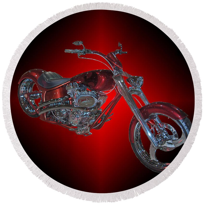 Harley Davidson Motorbike Chopper Bike Red Chrome Round Beach Towel featuring the photograph The Harley by Andrea Lawrence