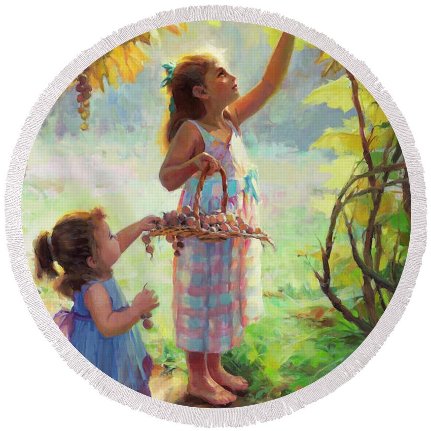 Vineyard Round Beach Towel featuring the painting The Harvesters by Steve Henderson
