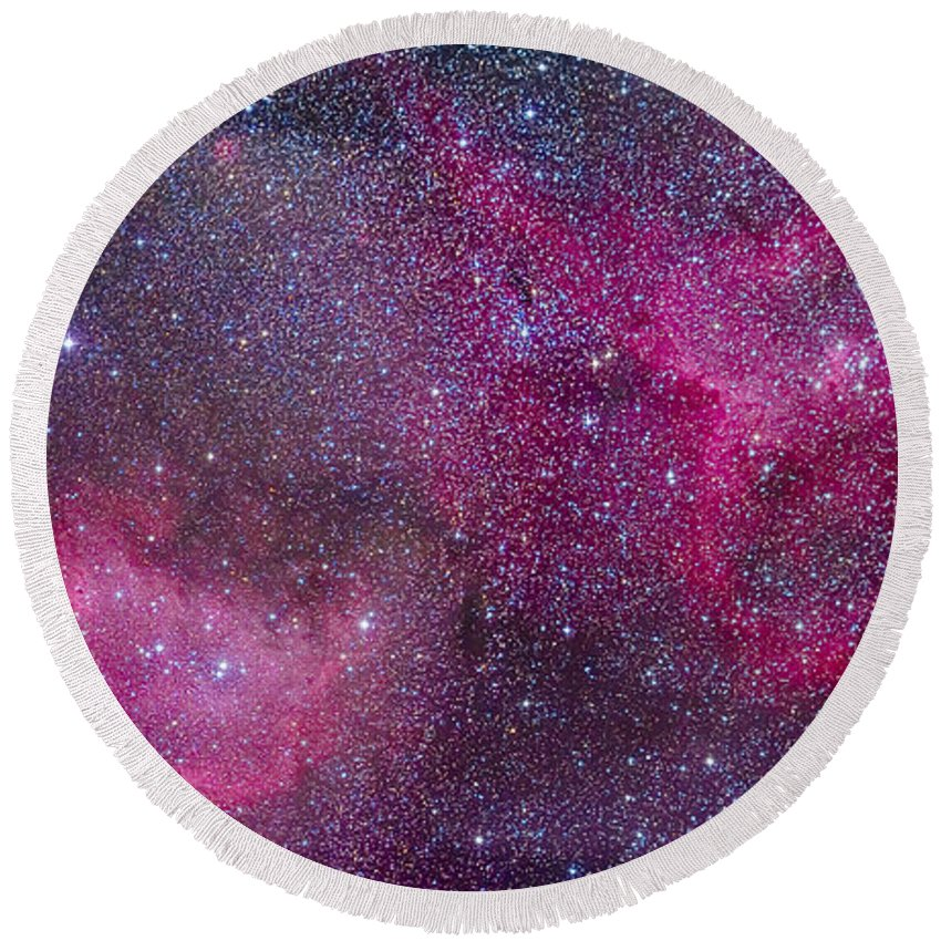 Cassiopeia Round Beach Towel featuring the photograph The Heart And Soul Nebulae by Alan Dyer