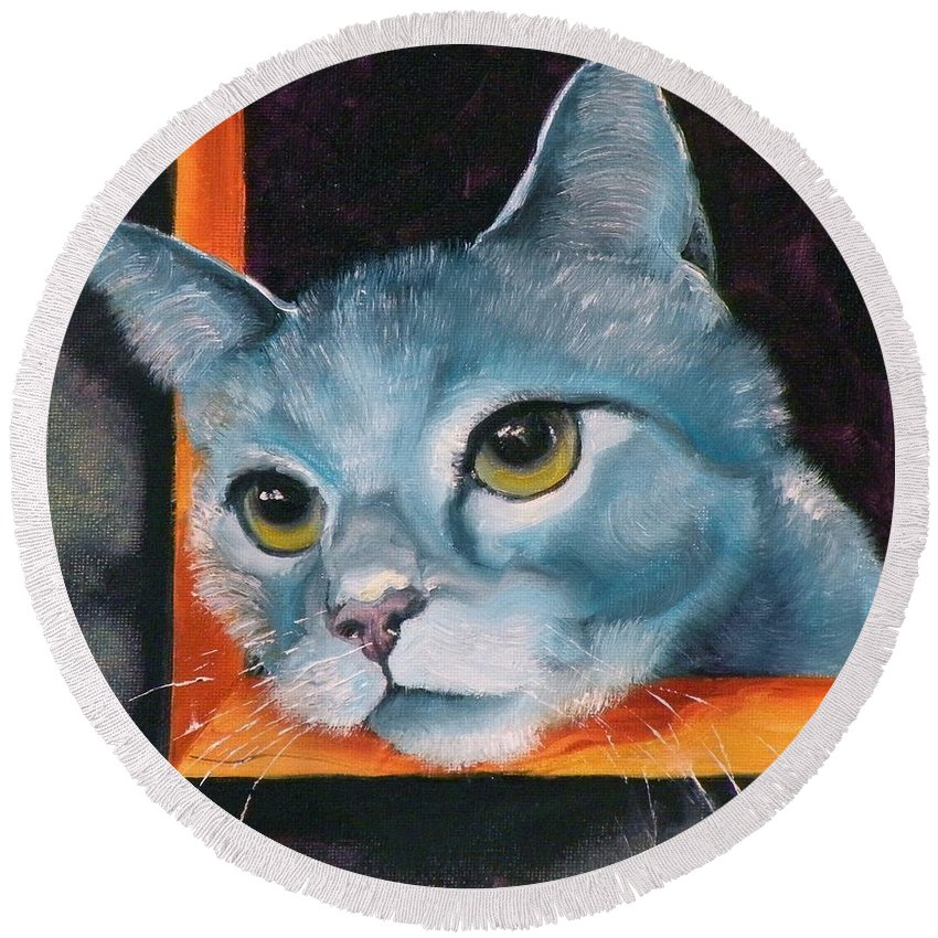 Cat Round Beach Towel featuring the painting The Heart Is A Lonely Hunter by Susan A Becker