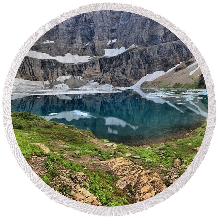 Iceberg Lake Panorama Round Beach Towel featuring the photograph The Heart Of Many Glacier by Adam Jewell