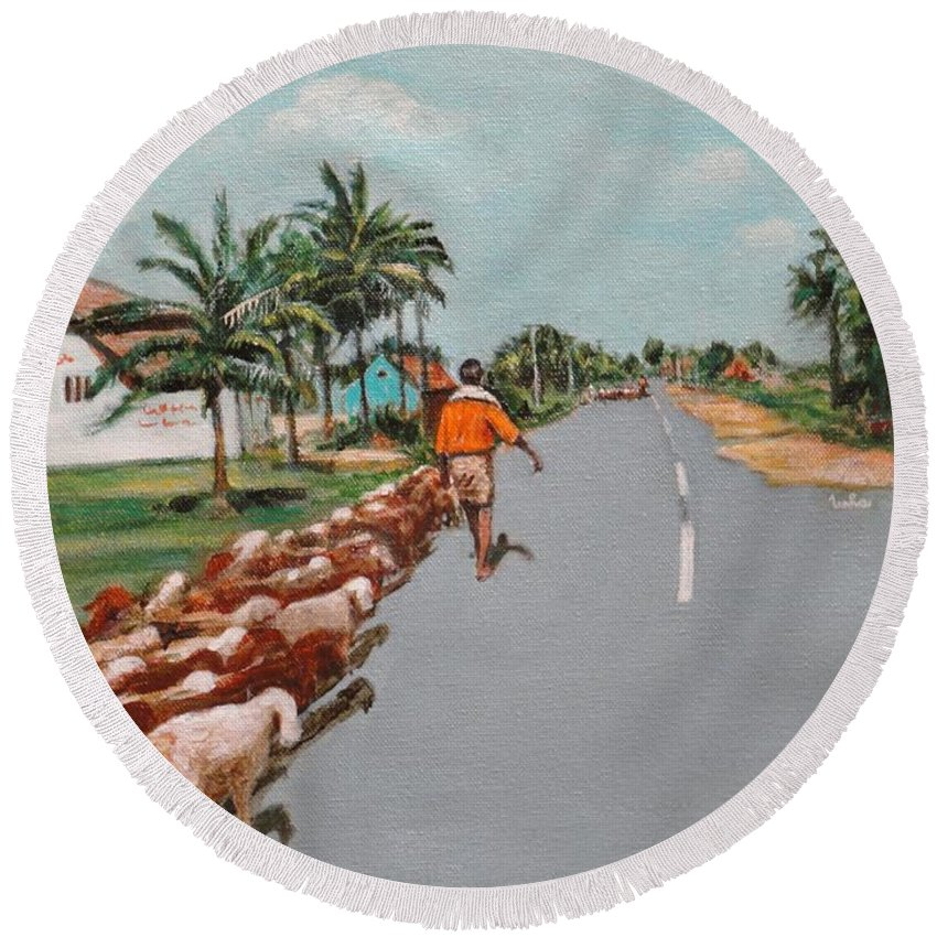 Round Beach Towel featuring the painting The Herd 1 by Usha Shantharam