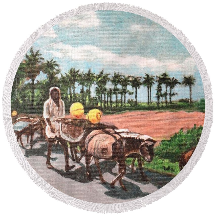 The Round Beach Towel featuring the painting The Herd 4 -donkey Herd by Usha Shantharam