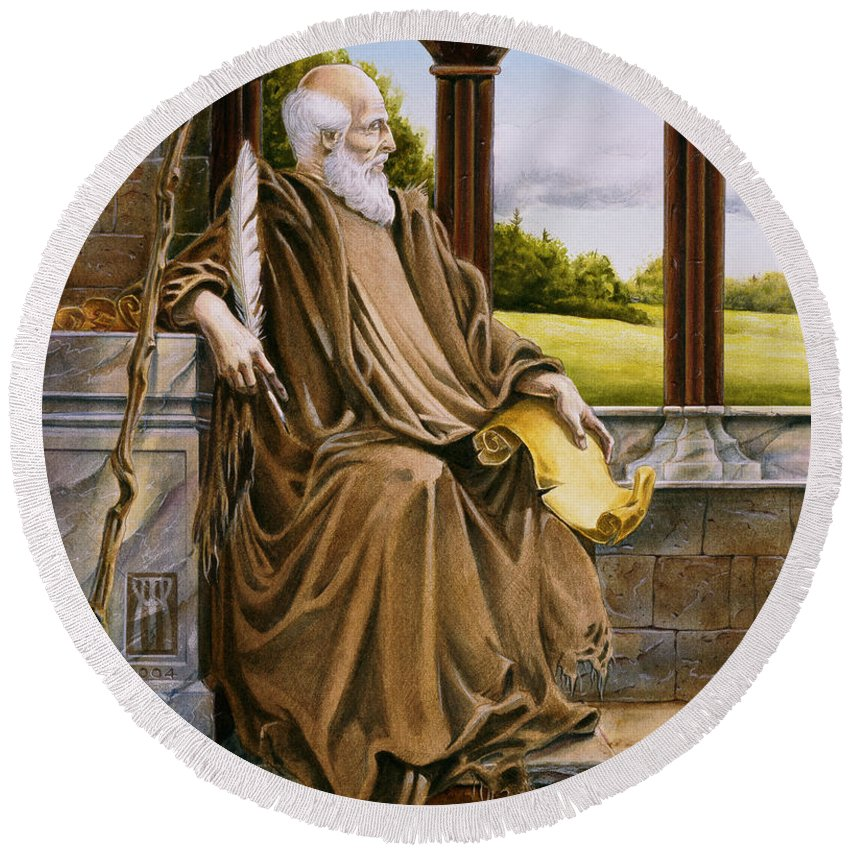 Wise Man Round Beach Towel featuring the painting The Hermit Nascien by Melissa A Benson