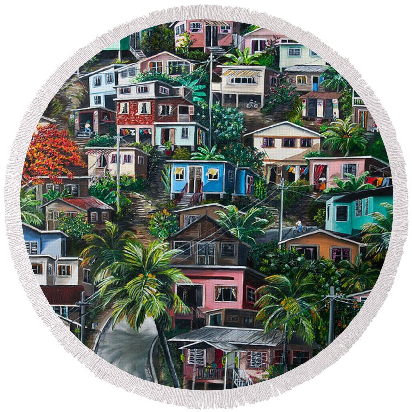 Landscape Painting Cityscape Painting Houses Painting Hill Painting Lavantille Port Of Spain Painting Trinidad And Tobago Painting Caribbean Painting Tropical Painting Caribbean Painting Original Painting Greeting Card Painting Round Beach Towel featuring the painting The Hill   Trinidad by Karin Dawn Kelshall- Best