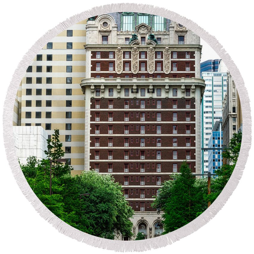 Adolphus Hotel Round Beach Towel featuring the photograph The Historic Adolphus Hotel by Mountain Dreams