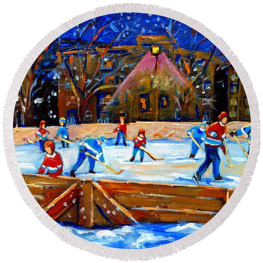 Snow Round Beach Towel featuring the painting The Hockey Rink by Carole Spandau