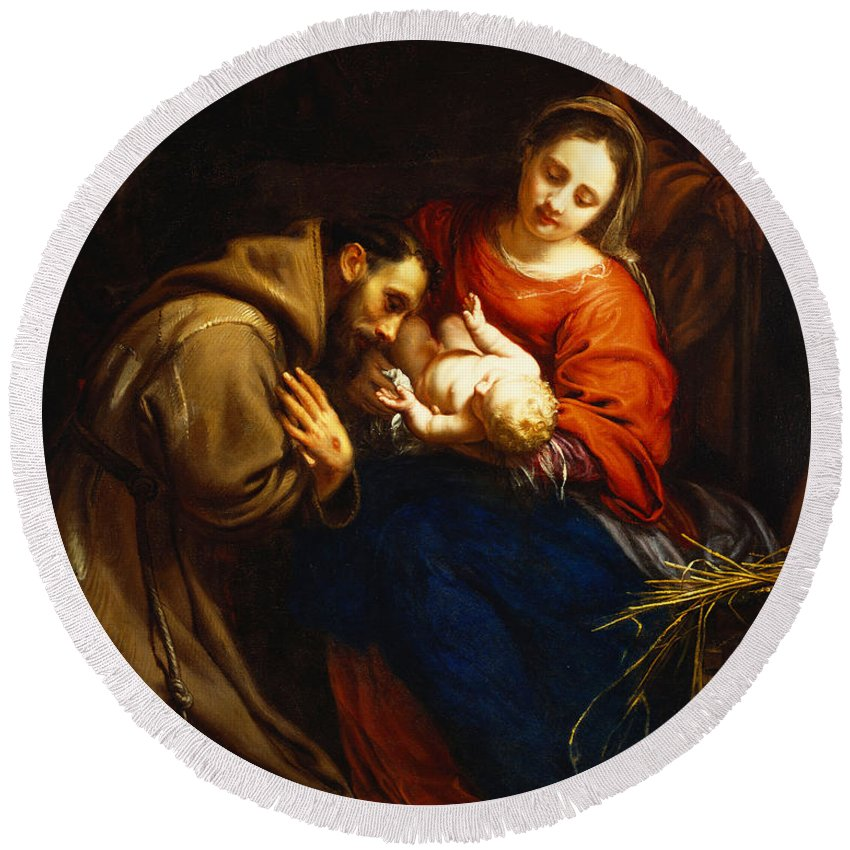Holy Round Beach Towel featuring the painting The Holy Family with Saint Francis by Jacob van Oost