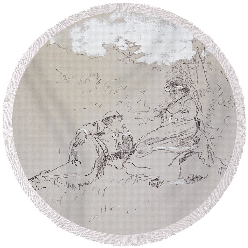The Honeymoon Round Beach Towel featuring the painting The Honeymoon by Winslow Homer