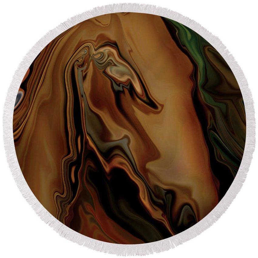 Animal Round Beach Towel featuring the digital art The Horse by Rabi Khan