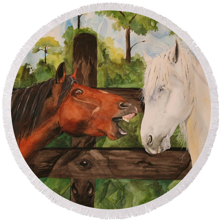 Horse Round Beach Towel featuring the painting The Horse Whisperers by Jean Blackmer