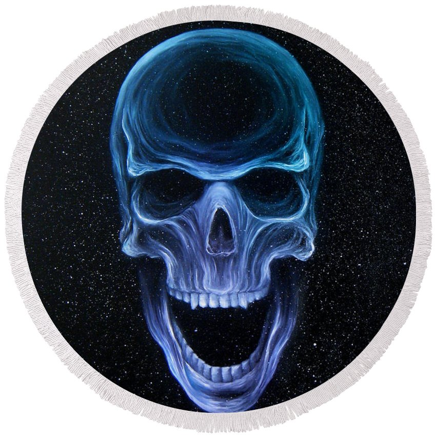 Skull Round Beach Towel featuring the painting The Howling Void by Colleen Woodward