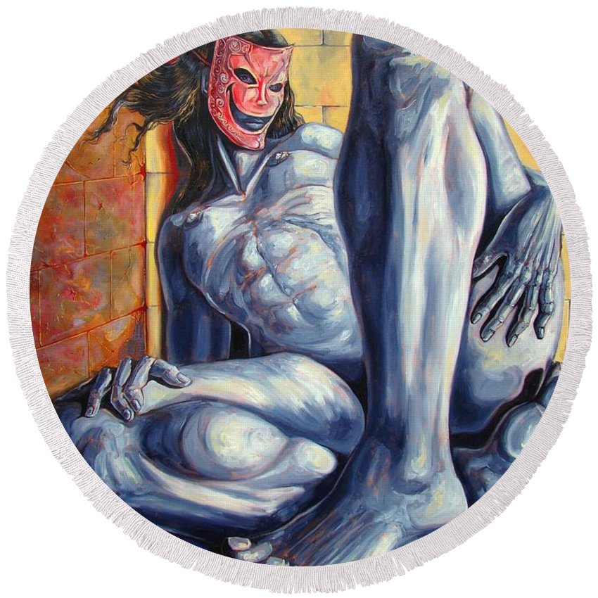Surrealism Round Beach Towel featuring the painting The Hunger Of The Eve by Darwin Leon