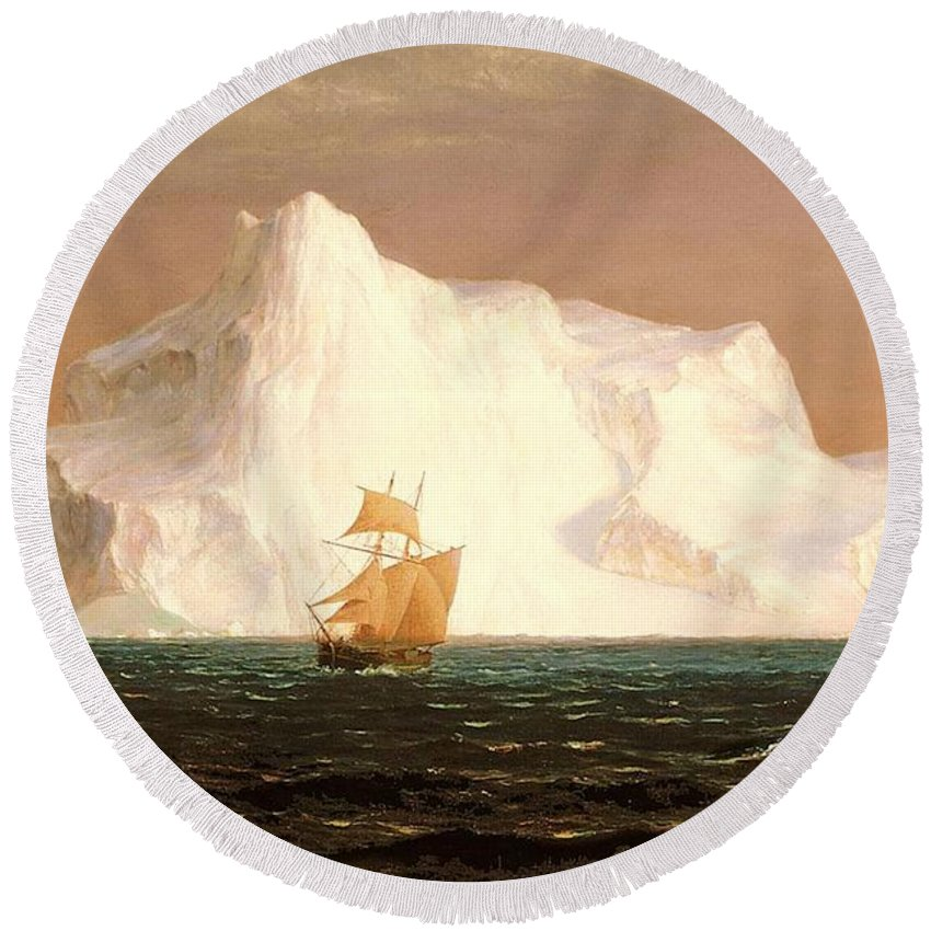Iceberg. Frederic Edwin Church Round Beach Towel featuring the painting The Iceberg by Frederic Edwin Church