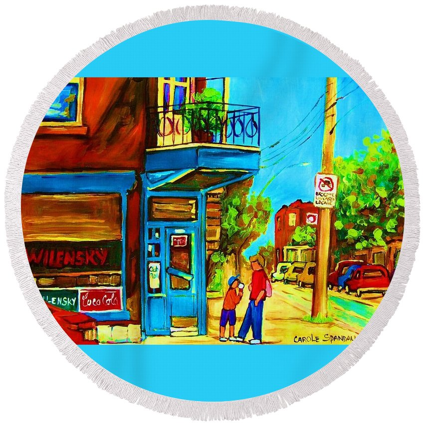 Wilenskys Deli Round Beach Towel featuring the painting The Icecream Cone by Carole Spandau