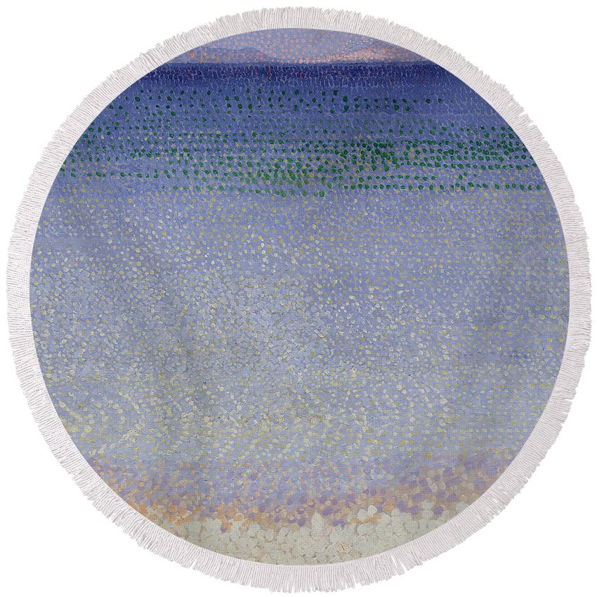 The Iles D'or (the Iles D'hyeres Round Beach Towel featuring the painting The Iles Dor by Henri Edmond Cross