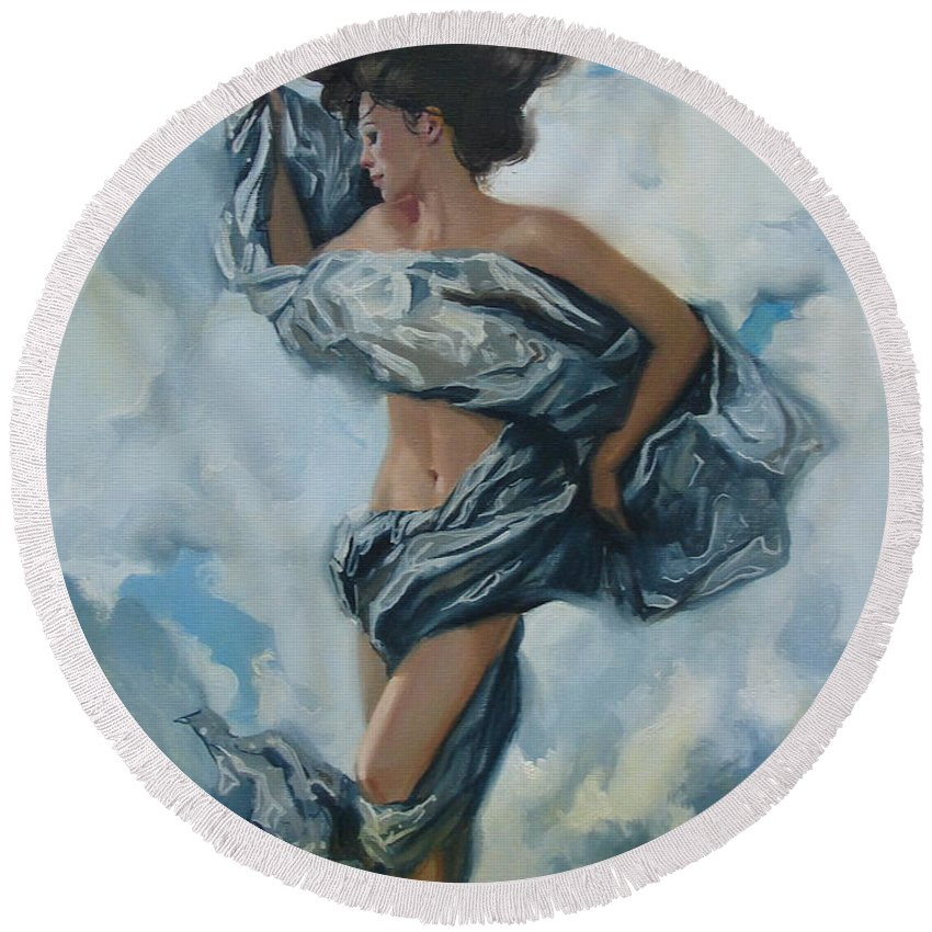 Oil Round Beach Towel featuring the painting The Illusion by Sergey Ignatenko