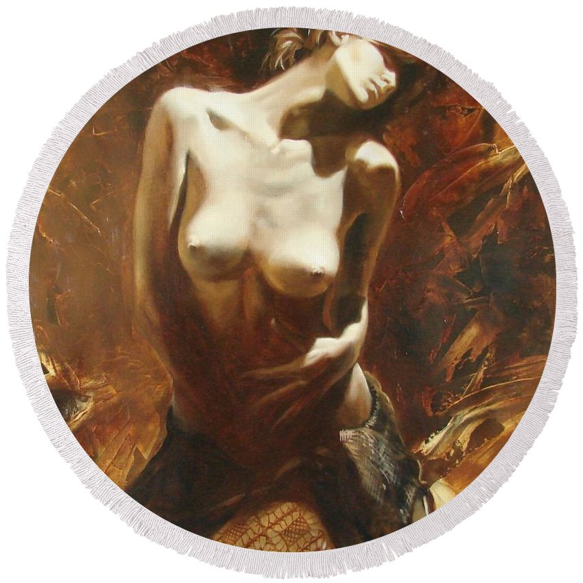 Oil Round Beach Towel featuring the painting The Incinerating Passion by Sergey Ignatenko